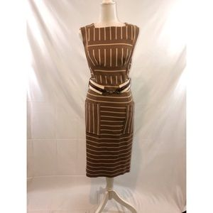 Tracy Reese Striped Belted Sheath Dress